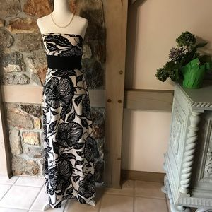WHBM strapless gown size 2 floral print maxi